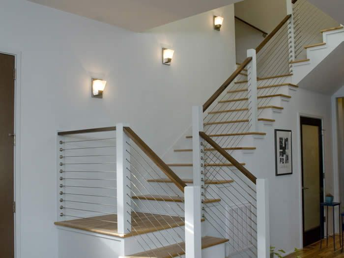 Cable rail staircase s w custom home gallery pinterest cable shape and railings - Staircases with integrated bookshelves ...