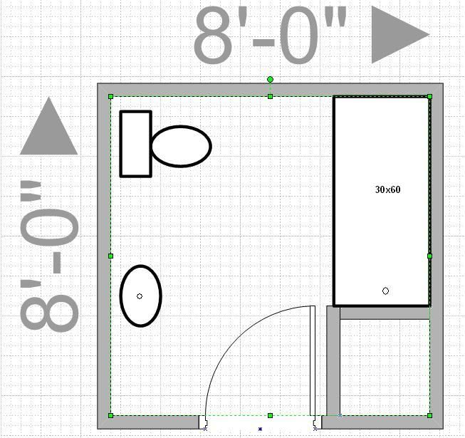 Can i push out my wall to get an 8x8 bathroom leave me with only 4x9 walk in then and that is Bathroom floor plans 5 x 8