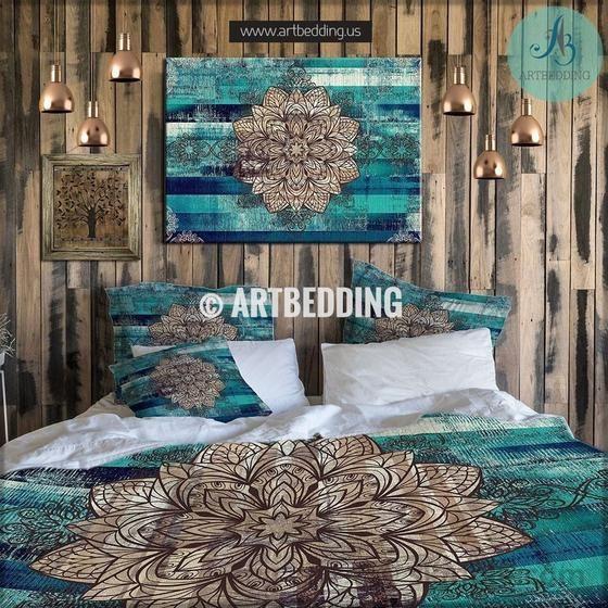 QUEEN SIZE Bohemian bedding, Mandala duvet cover set, Bohochic bedroom, bohemian turquoise vintage decor Bedding set