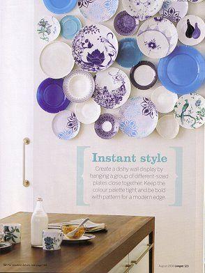 plate wallWall Art, Kitchens, Plates Art, Wall Decor, Dining Room, Blue Plates, Decor Ideas, Plates Wall, Plate Wall