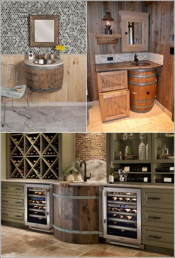 recycled wine barrel sinks I love this, I'm pretty sure it can be done with barrels of rum too ;)