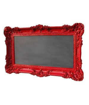 painted ornate thrift store frame, with chalkboard paint in the middle! easy peasy. I like that red.