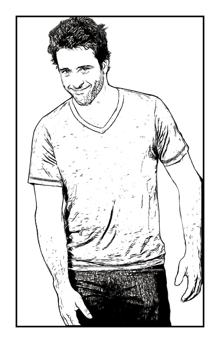 An Alex O'Loughlin Celebrity Coloring Page by Dan Newburn