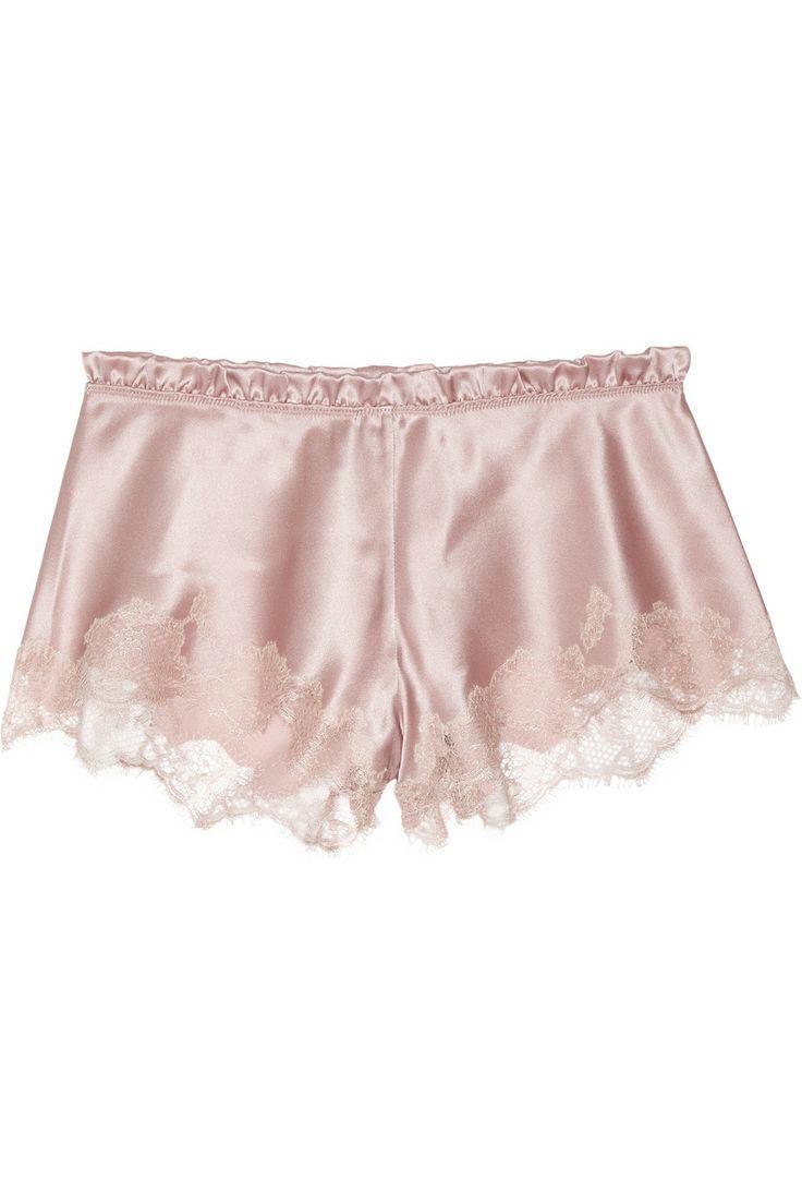 CARINE GILSON  Thème Louise lace-trimmed silk-satin shorts