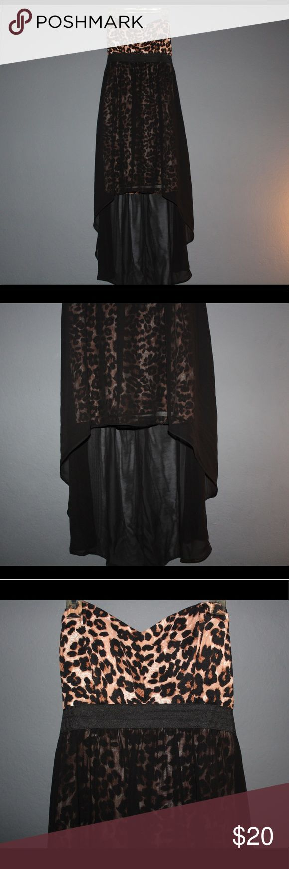 High low cheetah dress High low dress with cheetah mini dress under a sheer black layer. Sheer black layer is in good condition no tears Dresses High Low