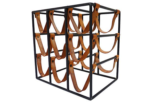 Midcentury Iron Wine Rack