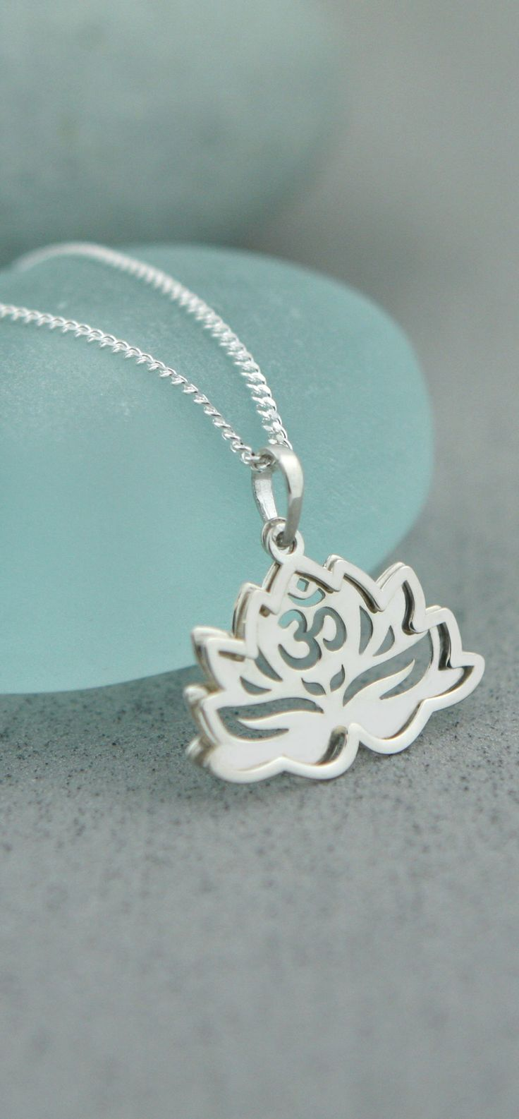 Sterling Silver Stacked Om Lotus Necklace
