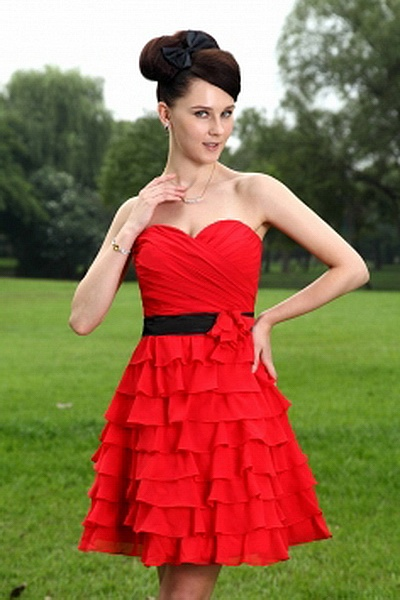 Satin Red A-Line Graduation Dress ted0827 - SILHOUETTE: A-Line; FABRIC: Satin; EMBELLISHMENTS: Ruched , Ruffles; LENGTH: Short - Price: 134.6400 - Link: http://www.theeveningdresses.com/satin-red-a-line-graduation-dress-ted0827.html