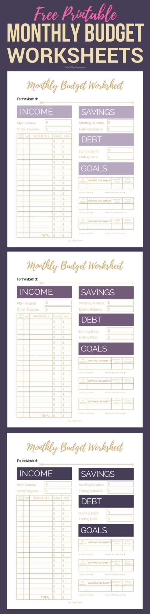 Free Printable Budget Worksheet, Sheets, Planner | Simple College Budgeting | Finance, Saving Money