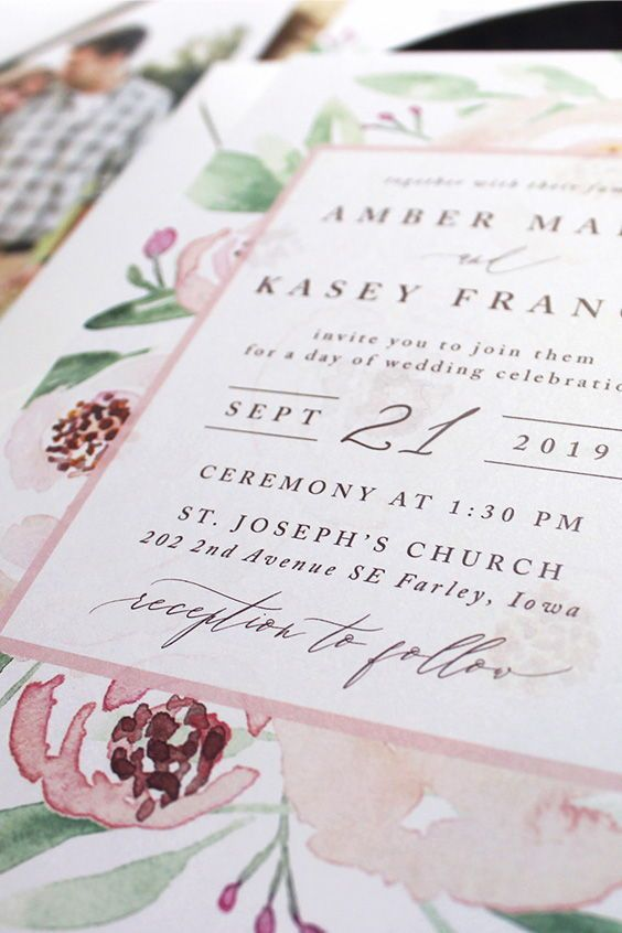 Hand Painted Watercolor Florals For A Wedding Invitation Florals