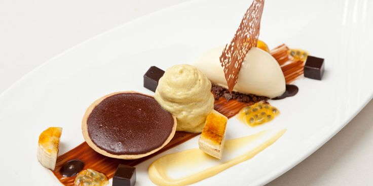 Simon Haigh's brilliant dessert dish features many wondrous compenents, including a hot chocolate tart, banana espuma and banana and passion fruit ice cream