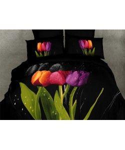 Dolce Mela DM416Q Queen Size Duvet Cover Set, Tulipani