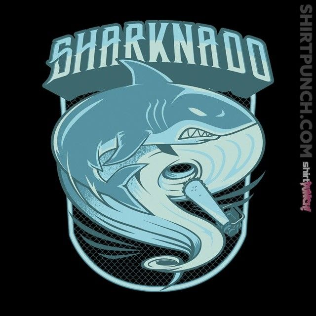"""Sharknado"" by Akiwa is $10 today at ShirtPunch.com (02/17). #tshirt #Sharknado #Fin #Baz #Nova #DisasterMovie"