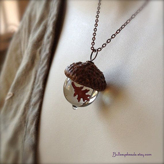 Glass Acorn Necklace with Copper Oak Leaf