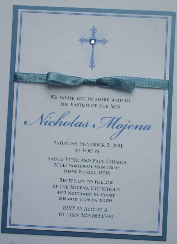 Boy Baptism-Communion Invitation with Bow - Private Listing
