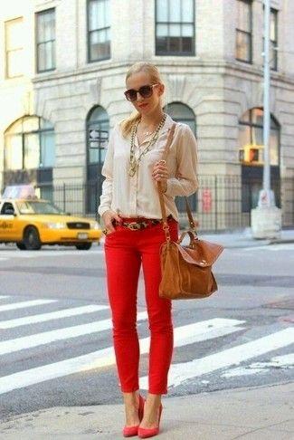 Les 25 meilleures id es de la cat gorie pantalon rouge femme sur pinterest jeans rouges pour - Comment porter un pantalon beige ...