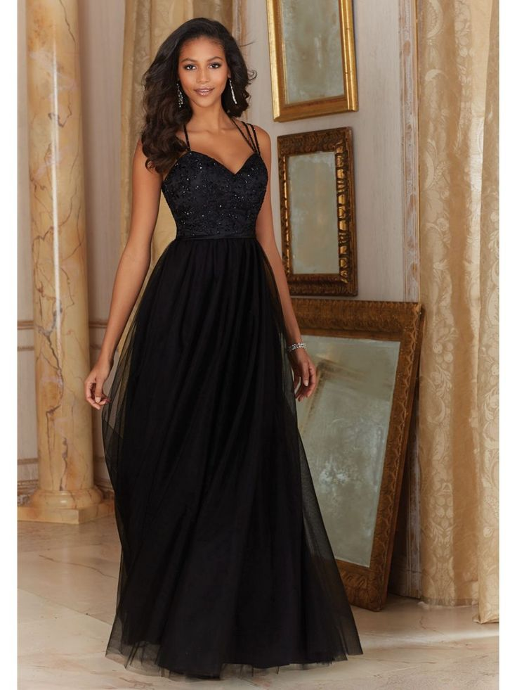 Long Black Tulle Embroidered Spaghetti Straps Bridesmaid Dresses 5602028