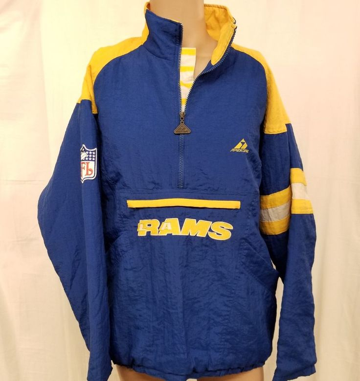 Vintage 80s 90s Apex One Adult Mens XL Extra Large Pull Over Jacket Coat Windbreaker LA Rams Los Angeles NFL Football Team Fan Gear Blue Yellow 1980's 1990's #ApexOne #LosAngelesRams  #StLouisRams