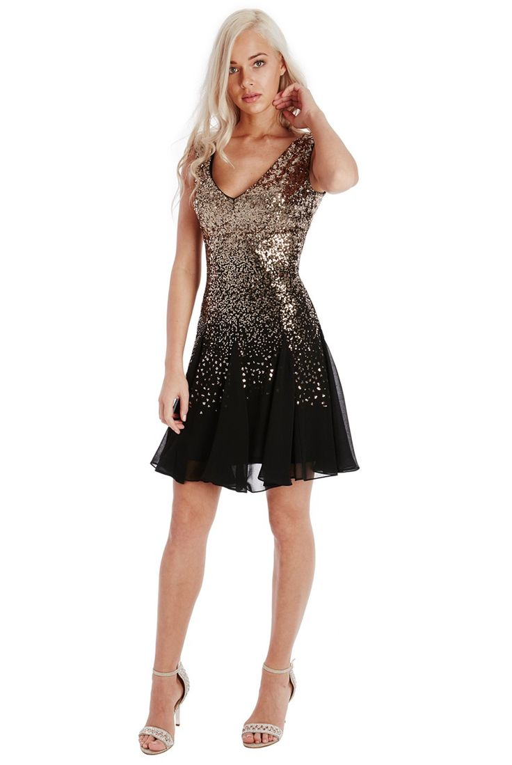 Sequin and Chiffon Skater Dress - Gold - Front - DR626