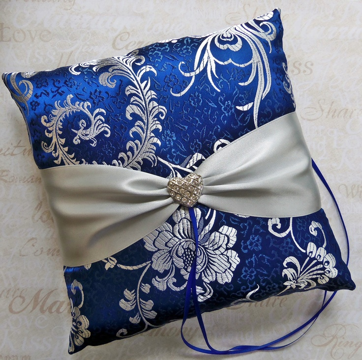 royal blue and silver wedding centerpieces%0A Wedding Ring Pillow Royal Blue and Silver Silk Brocade Fabric