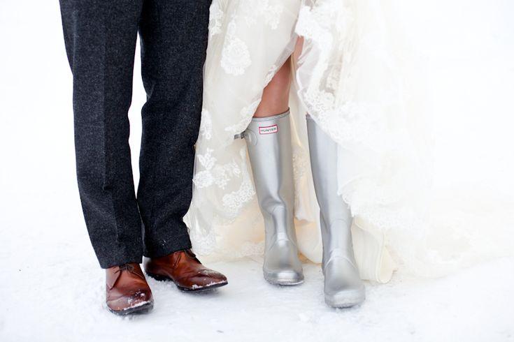Metallic wellies Image by Helen Cawte Photography #rockmywinterwedding @Derek Smith My Wedding