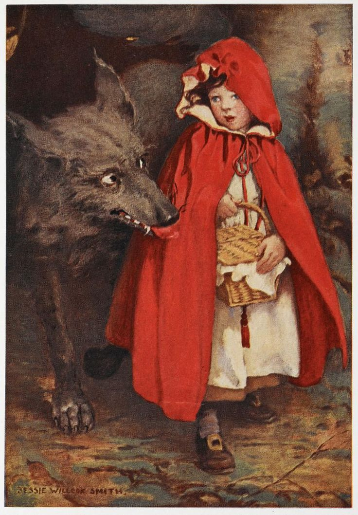 "Photo of an illustration for the fairy tale ""Little Red Riding Hood""."