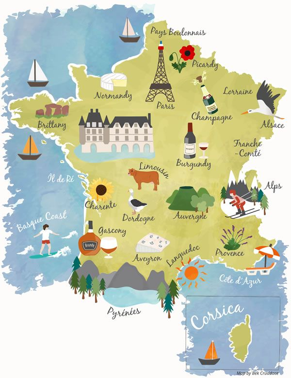 Illustrated map showing the main tourist Regions of France including Brittany, Dordogne, Corsica, Loire, Provence, Pyrenees, Paris, Alps. Commissioned by France Today.