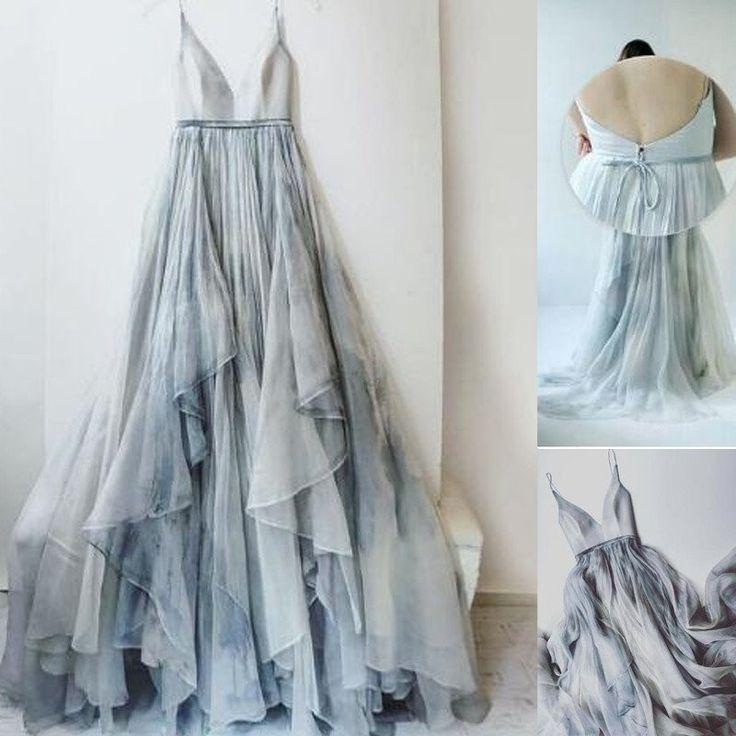 Unique Spaghetti V-neck Print Chiffon Long A-line Real Made Prom Dresses, PD0286