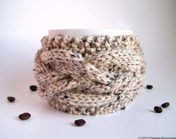 Coffee Cozy in Oatmeal  Coffee Sleeve Tea Cozy by natalya1905, $17.50
