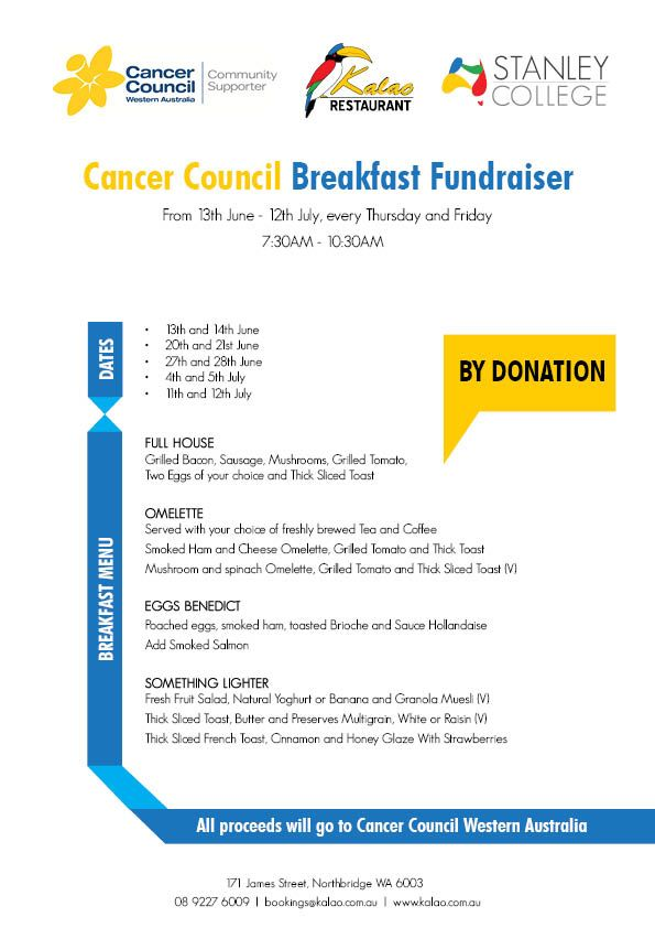 Stanley College - Cancer Council Breakfast Fundraiser