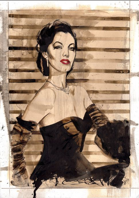 Ava Gardner original artwork on A3 thick card by GaryAlfordArt on Etsy