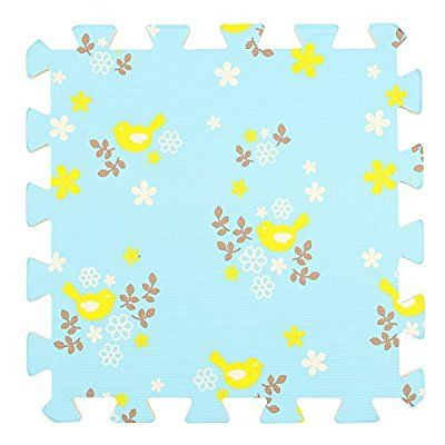Great idea for a playmat in a lounge or bedroom. Cheap and easy to store away  Children's Blue Foam Play Mats - 9 Soft Interlocking Floor Mats with Yellow Bird Pattern for Children and Babies