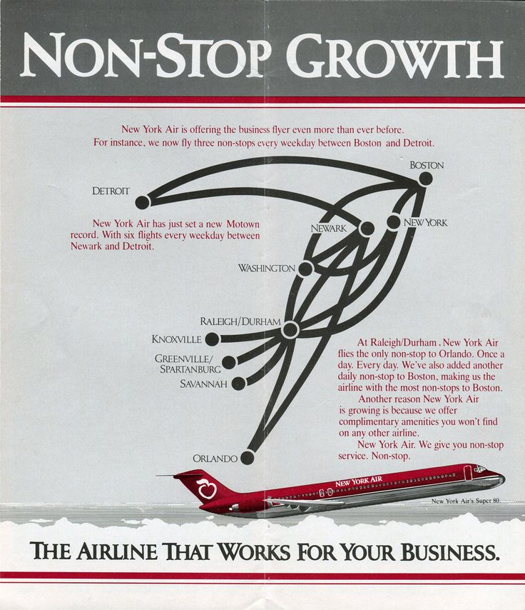 New York Air Route Map 1984