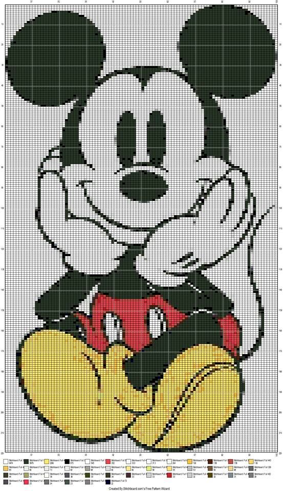 MICKEY MOUSE SITTING by STITCHBOARDS.COM FREE PATTERN WIZARD -- WALL HANGING                                                                                                                                                                                 More