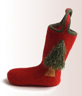 Enchanted Forest Christmas Stocking pattern by Cat Bordhi