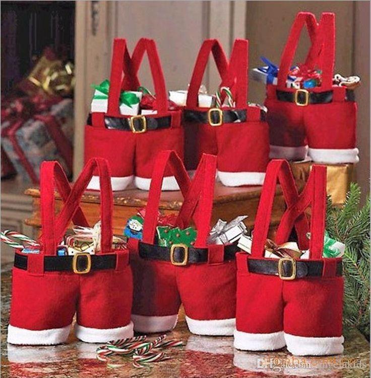 Mikulás Candy táskák karácsonyi szettek 60 BBA4351 Kézzel készített Mini Ruházat karácsonyi nadrág formájú karácsonyi baba fiú ruhák