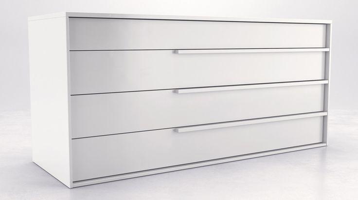 Blake dresser white lacquer 4 drawer dresser white
