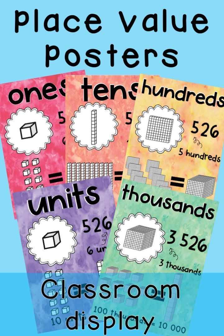Place Value Posters Mab Posters Watercolor Theme To Teach