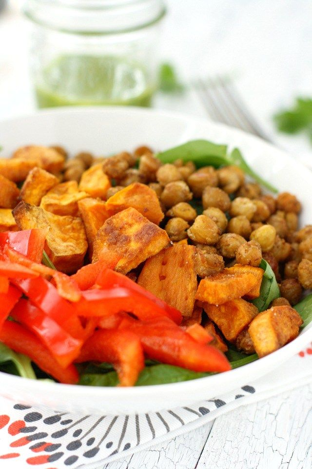 Salad with Roasted Sweet Potatoes and Chickpeas | Recipe | Roasted ...
