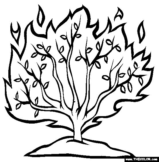 coloring pages of burning bush - photo#14