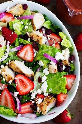 Strawberry Chicken Salad with Strawberry Balsamic Dressing.