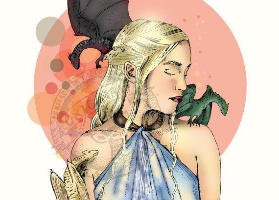 Daenerys Targaryen with dragons illustration