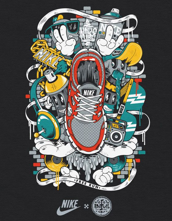 Diseño textil: Camisetas de Nike por Diogo Machado | Vagabundos MX