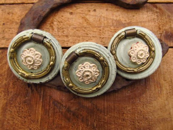 Vintage Dresser Pulls - Furniture Hardware Parts- Shabby Chic Flower Hardware