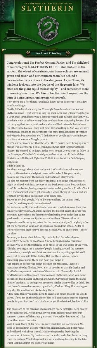 Slytherin welcome message