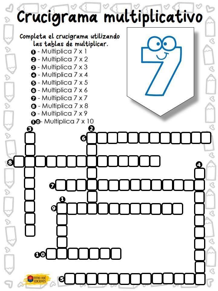 Crucigrama multiplicativo - Imagenes Educativas c984dd9fa87