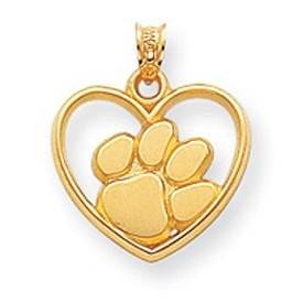 14k Yellow Gold Clemson University Heart Charm