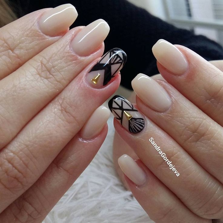 gel nails light beige, gold decoration, black geometric shapes