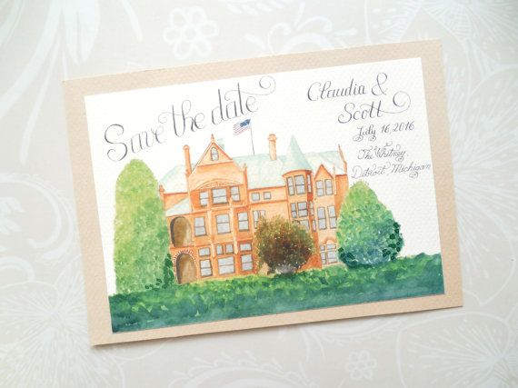Illustrated Wedding Venue Invitation / Save by WatercoloredWedding