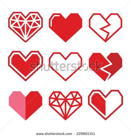 Geometric love red heart for Valentine's Day icons  by RedKoala